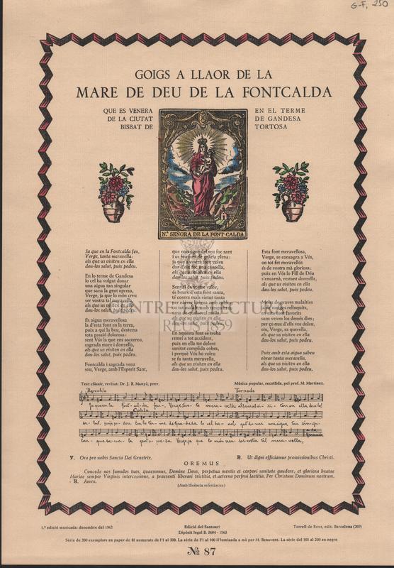 Goigs a llaor de la Mare de Deu de la Fontcalda que es venera en el terme de la ciutat de Gandesa Bisbat de Tortosa,