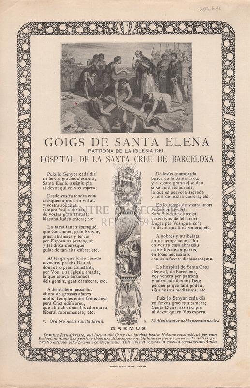 Goigs de Santa Elena patrona de la iglesia el Hospital General de la Santa Creu de Barcelona.