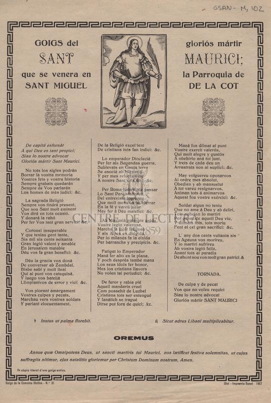 Goigs del gloriós mártir Sant Maurici que se venera en la Parroquia de Sant Miguel de la Cot