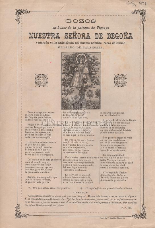 Gozos en honor de la patrona de Vizcaya Nuestra Señora de Begoña venerada en la anteiglesia del mismo nombre, cerca de Bilbao, obispado de Calahorra