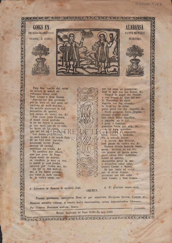 Goigs en alabansa de los gloriosos sants metges Cosme y Damià martirs