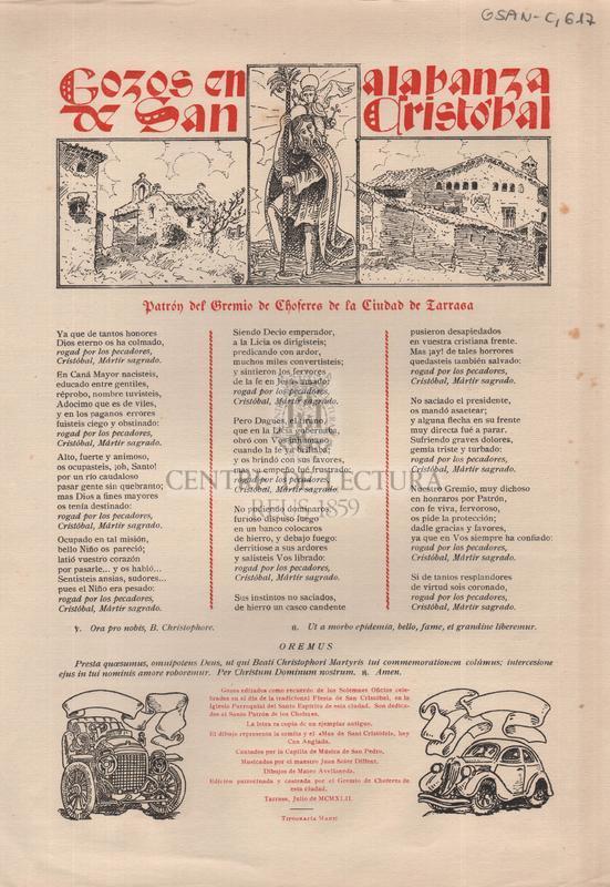 Gozos en alabanza de San Cristobal patron del Gremi de Choferes de la Ciudad de Tarrasa