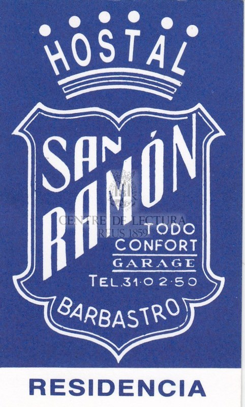 Targeta de l'hostal San Ramón de Barbastro