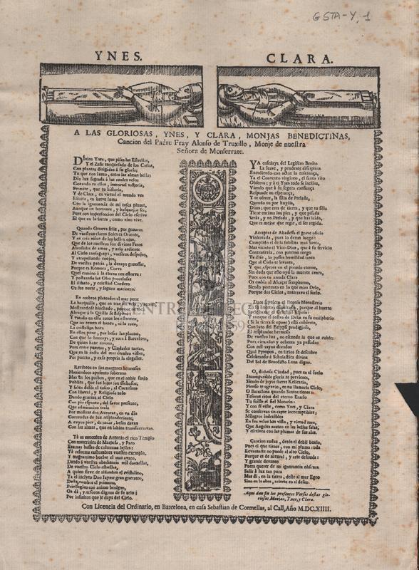 A las gloriosas, Ynes y Clara, monjas benedictinas, Cancion del Padre Fray Alonso de Truxillo, Monje de nuestra Señora de Monferrate.