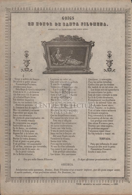 Goigs en honor de santa Filomena, anomenada la taumaturga del sigle dinou