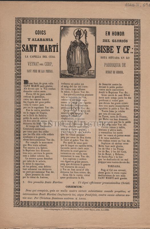 Goigs en honor y alabansa del gloriós Sant Martí Bisbe y CF.: la capella del cual está situada en lo veynat del Corp, parroquia de Sant Pere de las Presas, Bisbat de Gerona