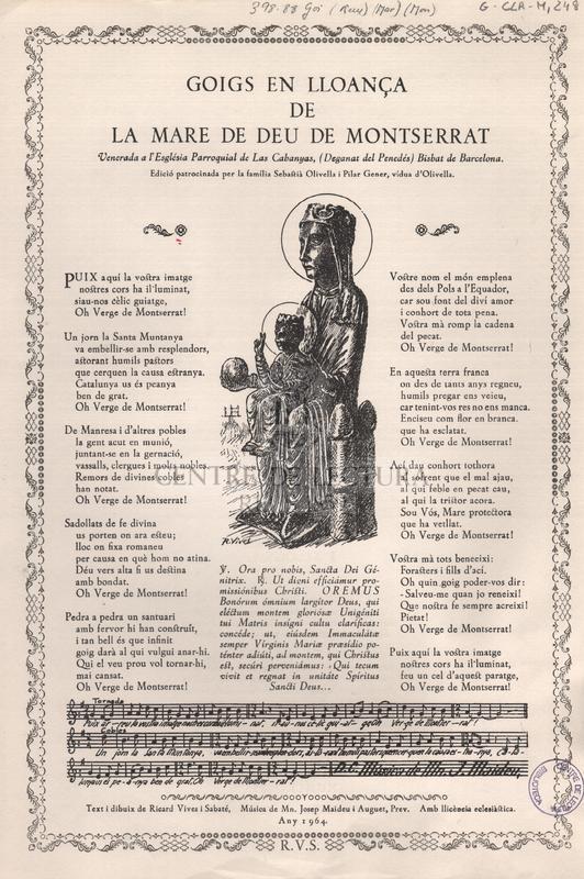 Goigs en lloança de la Mare de Deu de Montserrat venerada a l'Església Parroquial de Las Cabanyas, (Deganat del Penedès) Bisbat de Barcelona.