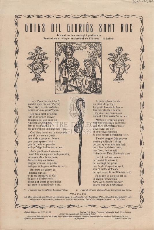 Goigs del gloriós Sant Roc. Advocat contra contagi i pestilència. Venerat en el temple arxiprestal de Vilanova i la Geltrú