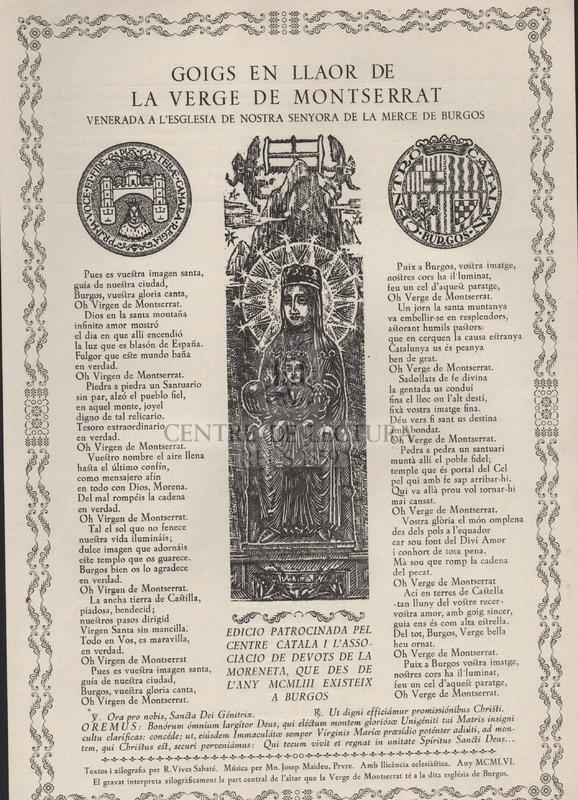 Goigs en llaor de la Verge de Montserrat venerada a l'església de Nostra Senyora de la Mercè de Burgos.