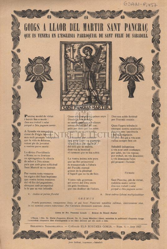 Gogis a llaor del martir Sant Pancraç que es venera en l'Esglesia parroquial de Sant Feliu de Sabadell