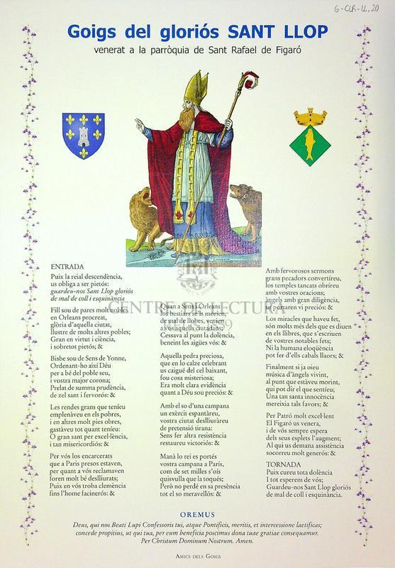 Goigs del gloriós Sant Llop venerat a la parròquia de Sant Rafael de Figaró