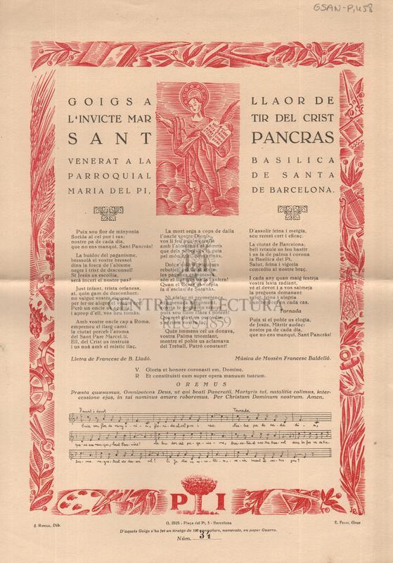Goigs en llaor de Sant Pancràs venerat a la Basilica parroquial de Santa Maria del Pi, de Barcelona