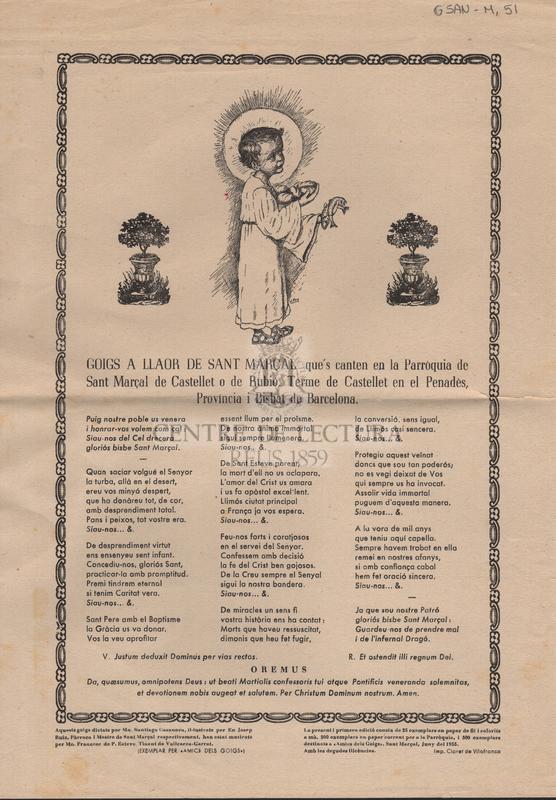 Goigs a llaor se Sant Marçal que's canten en la Parroquia de Sant Marçal de Castellet o de Rubió, Terme de Castellet en el Penadès, Província i Bisbat de Barcelona