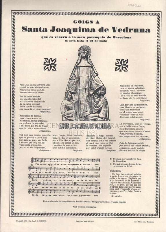 Goigs a Santa Joaquima de Vedruna que es venera a la seva parròquia de Barcelona. La seva festa el 22 de maig.