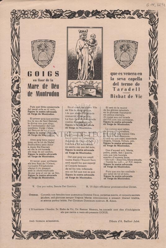 Goigs en llaor de la Mare de Déu de Montrodon que es venera en la seva capella del terme de Taradell. Bisbat de Vic.