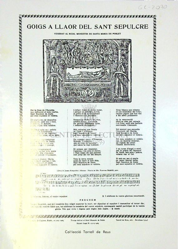 Goigs a llaor del Sant Sepulcre venerat al reial monestir de Santa Maria de Poblet