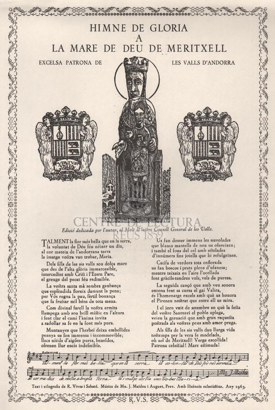 Himne de la Glòria a la Mare de Déu de Meritxell, excelsa Patrona de les Valls d'Andorra.