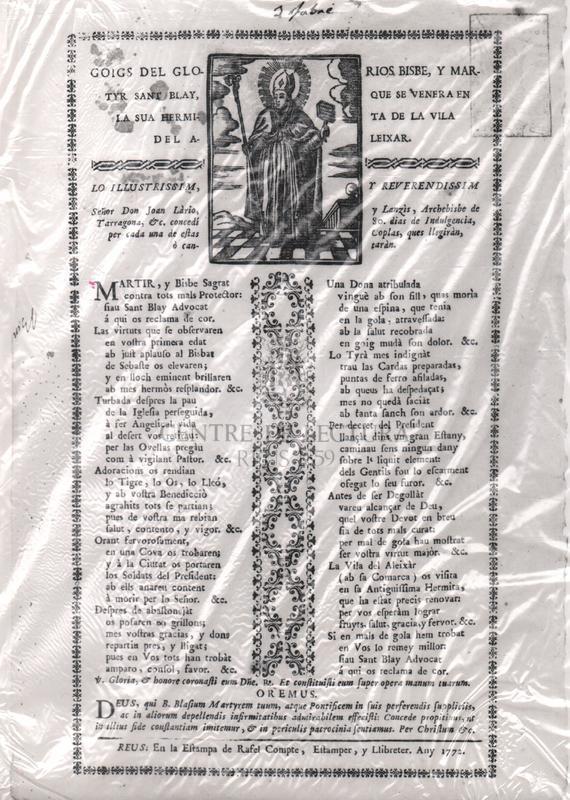 Goigs del glorios, Bisbe, y Matyr Sant Blay, que se venera en la sua hermita de la vila l'Aleixar