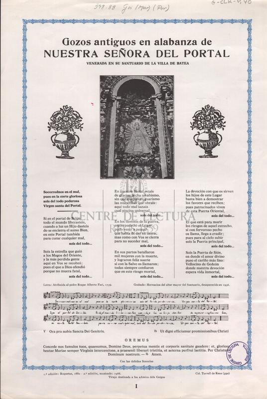 Gozos antiguos en alabanza de Nuestra Señora del Portal venerada en su santuario de la Villa de Batea.