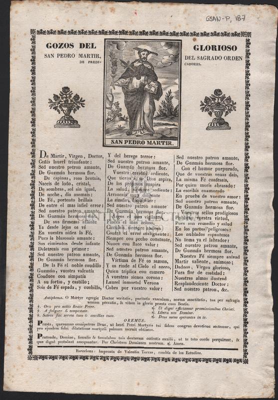 Goigs del gloriós Sant Pere martyr, del ordre de predicadors, que se cantan en la Parroquia de Sant Fructuós de Bages