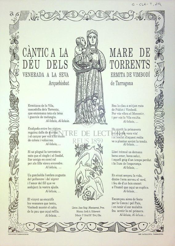 Càntic a la Mare de Déu dels Torrents venerada a la seva ermita e Vimbodí Arquebisbat de Tarragona
