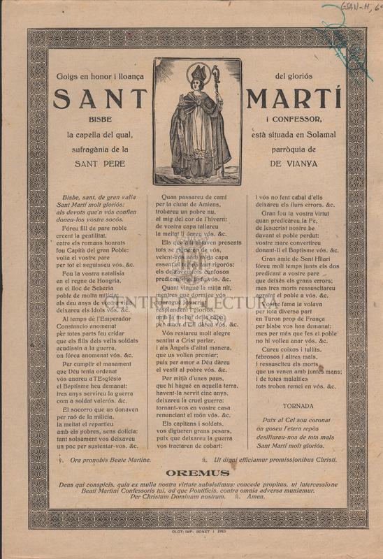 Goigs en honor i lloança del gloriós Sant Martí Bisbe i Confessor, la capella del qual, està situada en Solamal sufragània de la parròquia de Sant Pere de Vianya