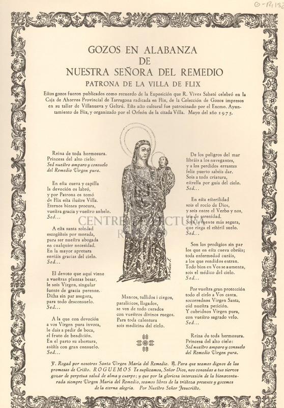 Gozos en alabanza de Nuestra Señora de Remedio Patrona de la villa de Flix