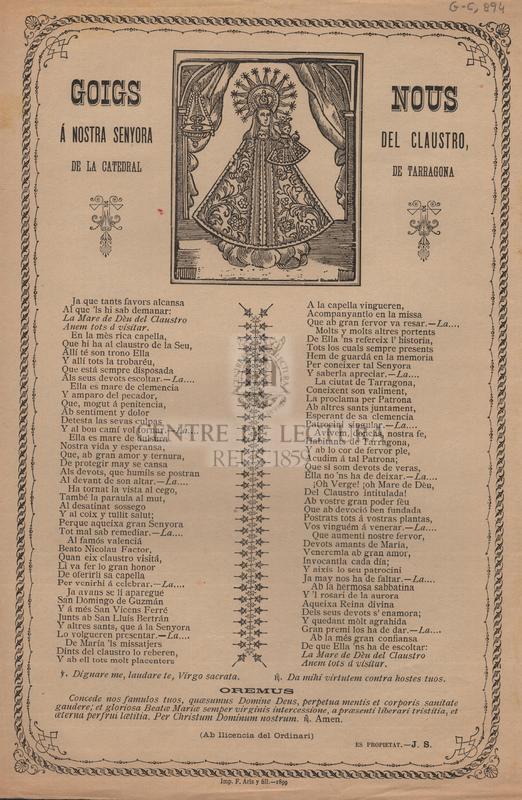 Goigs nous á Nostra Senyora del Claustro de la Catedral de Tarragona.