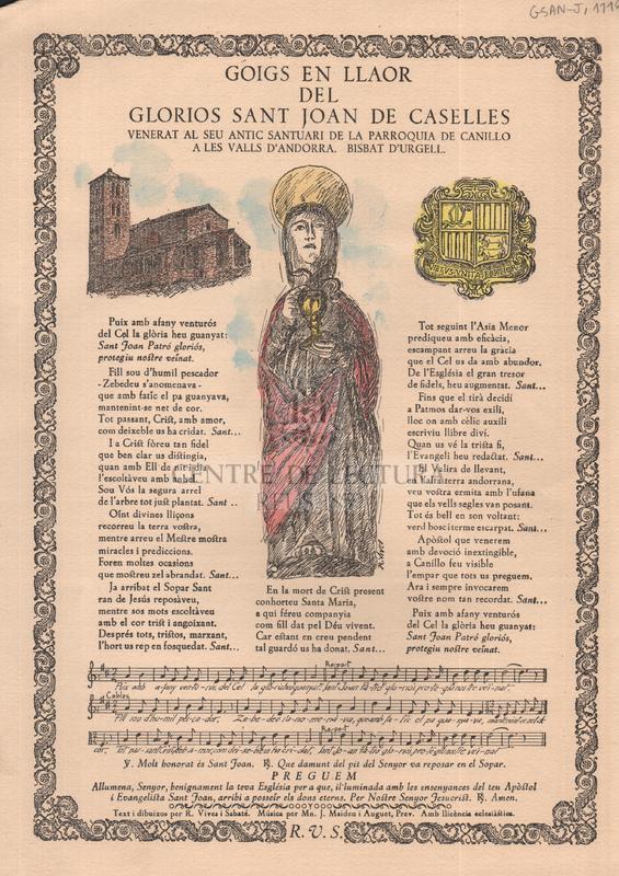 Goigs en llaor del glorios sant Joan de Caselles, venerat al seu antic santuari de la parroquia de Canillo a les valls d'Andorra, Bisbat d'Urgell