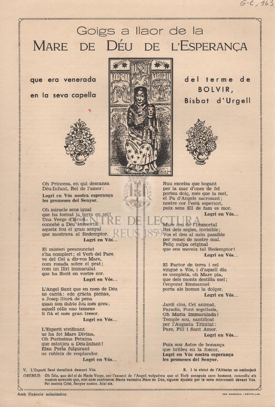 Goigs a llaor de la Mare de Déu de l'Esperança que era venerada en la seva capella del terme de Bolvir, Bisbat d'Urgell.