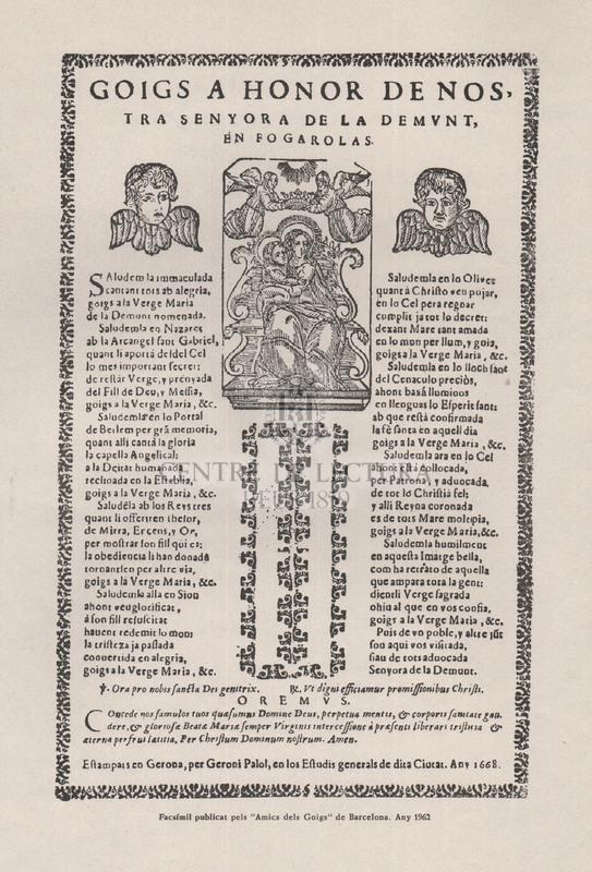 Goigs a honor de Nostra Senyora de la Demunt, en Fogarolas