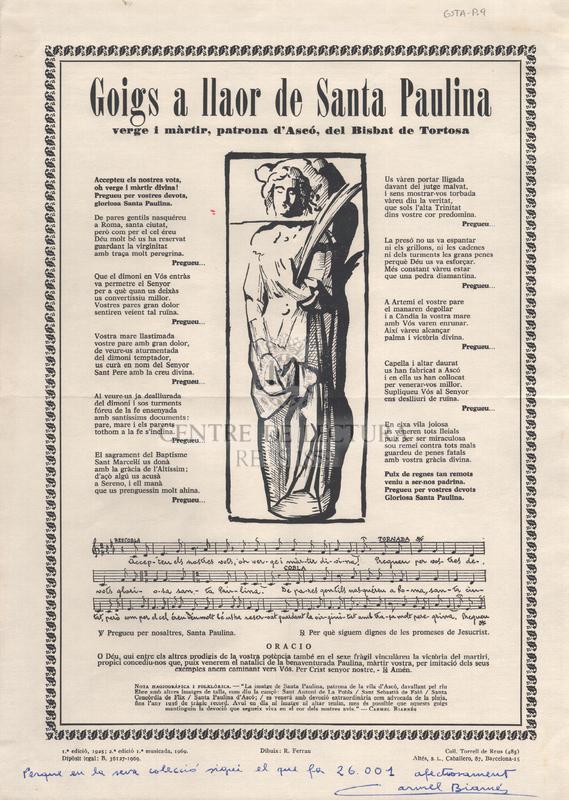 Goigs a llaor de Santa Paulina verge y màrtir, patrona d'Ascó, del Bisbat de Tortosa.