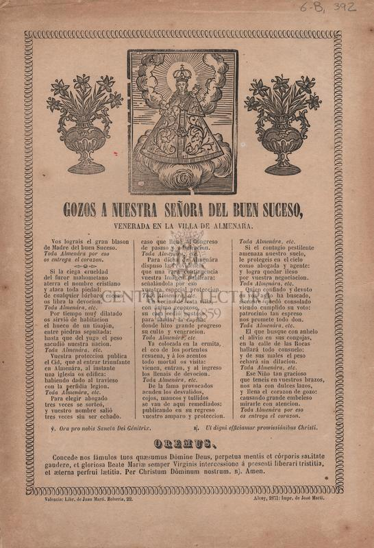 Gozos a Nuestra Señora del Buen Suceso, venerada en la villa de Almenara