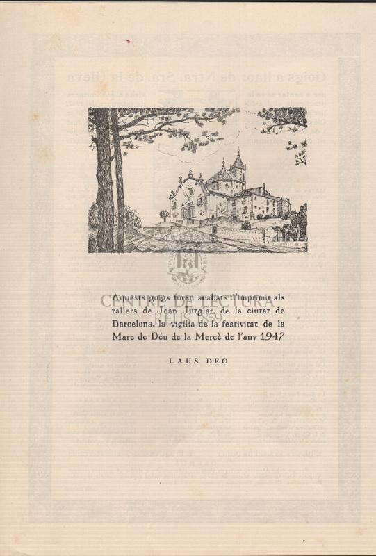 Goigs a llaor de Nostra Senyora de la Gleva editat amb motiu del Romiatge que tingué lloc al seu Santuari, en commemoració del segon centenari de la fundació de la Germandat