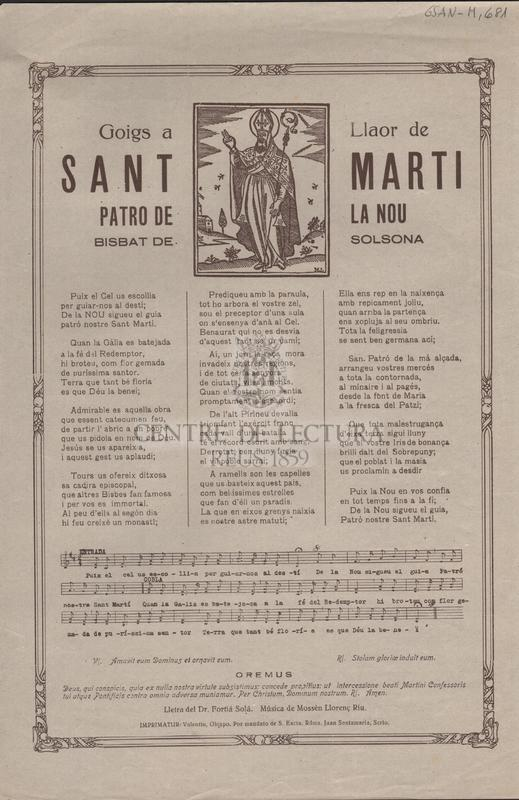 Goigs a Llaor de Sant Marti. Patro de La Nou. Bisbat de Solsona