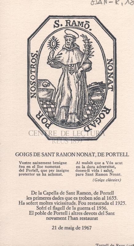 Goigs de Sant Ramon Nonat, de Portell