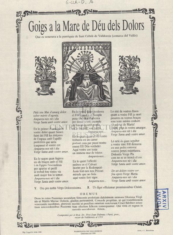 Goigs a la Mare de Déu dels Dolors que es veneraven a la parróquia [sic] de Sant Cebrià de Valldoreix (comarca del Vallès)