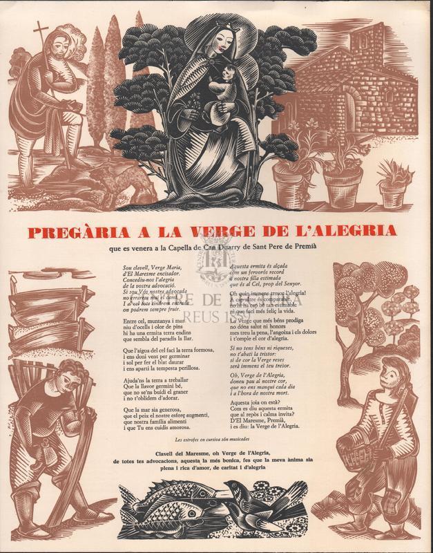 Pregària a la Verge de l'Alagria que es venera a la Capella de can Duarry de Sant Pere de Premià.