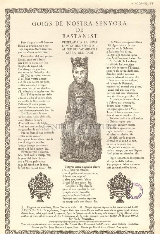 Goigs de Nostra Senyora de Bastanist venerada a la seva ermita del segle XIII al peu de l'admirable Serra del Cadí