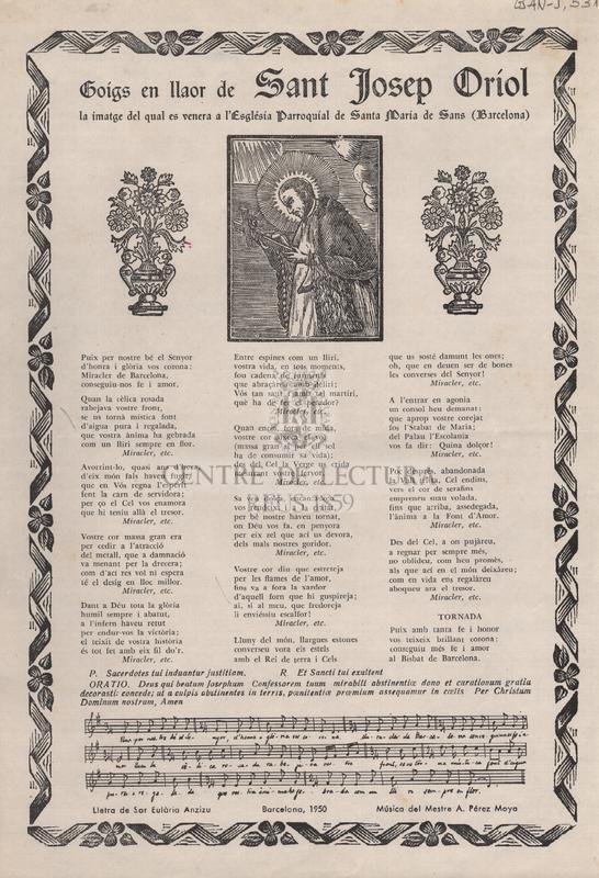 Goigs en llaor de Sant Josep Oriol, la imatge del qual es venera a l'Església Parroquial de Santa María de Sans (Barcelona)