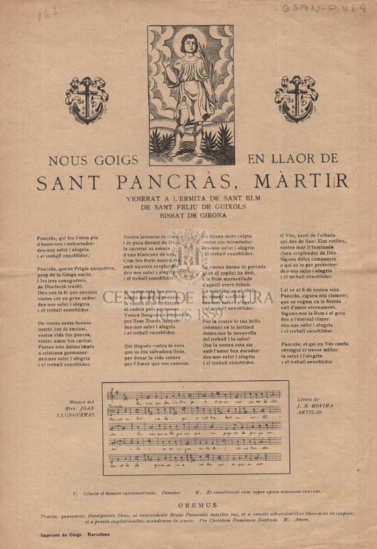 Nous goigs en llaor de Sant Pancràs, màrtir venerat a l'ermita de Sant Elm de Sant Feloiu de Guixols, Bisbat de Girona