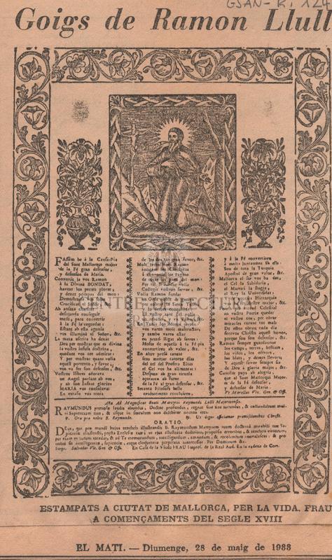 Goigs de Ramon Llull