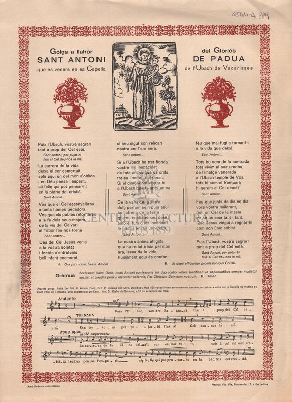 Goigs a llahor del Gloriós Sant Antoni de Padua que es venera en sa Capella de l'Ubach de Vacarisses.