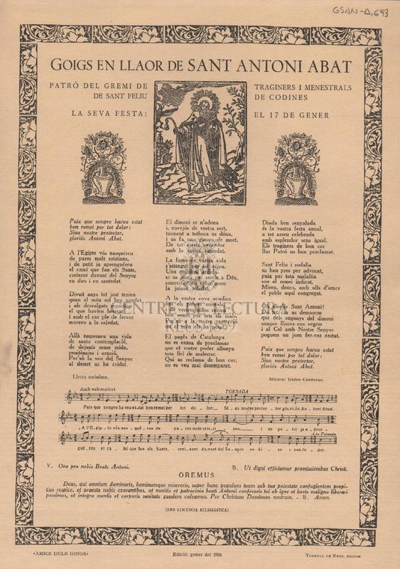 Goigs al gloriós Sant Antoni Abat que es canten en la parroquial de Sant Martí i Sant Pere de l'esglaiola.