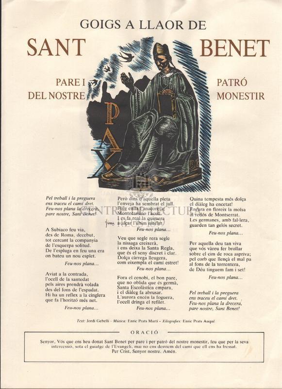 Goigs a Sant Benet. Monestir de Sant Benet. Montserrat 1983