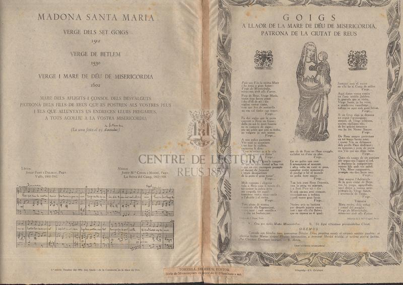 Goigs a llaor de la Mare de Déu de Misericordia patrona de la ciutat de Reus