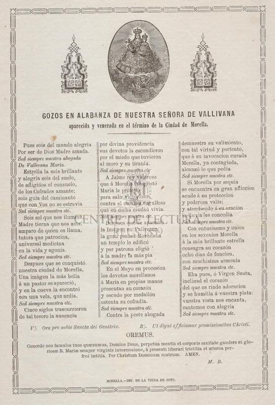 Gozos en alabanza de Nuestra Señora de Vallivana aparecida y venerada en el término de la Ciudad de Morella