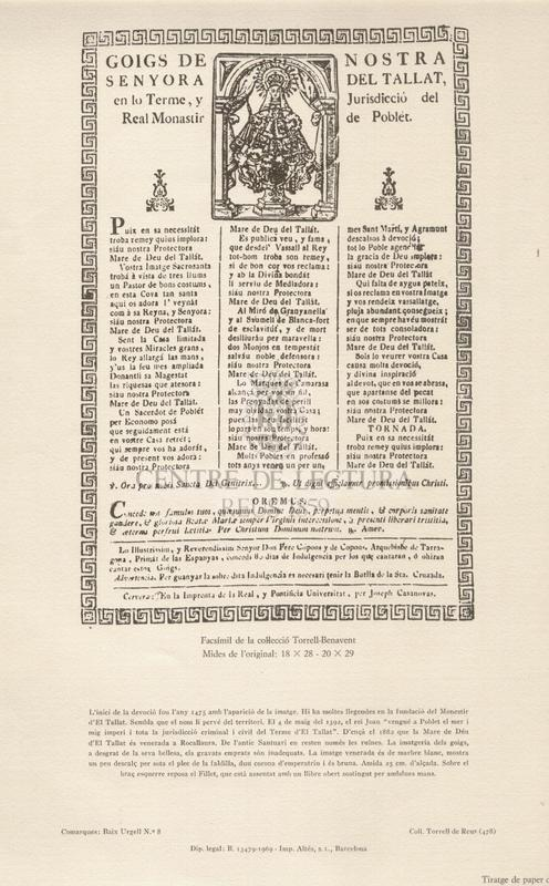 Goigs de Nostra Senyora del Tallat, en lo Terme, y Jurisdicció del Real Monastir de Poblet