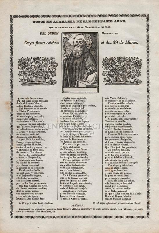 Gozos en alabanza de San Eustasio Abad, que se venera en el Real Monasterio de Mer del Orden Benedictino. Cuya fiesta celebra el dia 29 de marzo