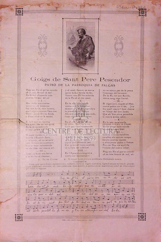 Goigs de Sant Pere Pescador patró de la parroquia de Falgás